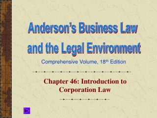 Chapter 46: Introduction to Corporation Law