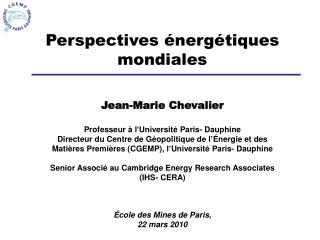 Perspectives  nerg tiques mondiales