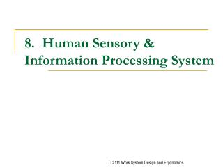 8.  Human Sensory  Information Processing System