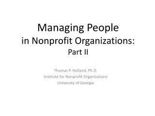 Managing People                       in Nonprofit Organizations:  Part II