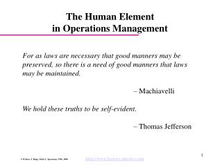 The Human Element  in Operations Management