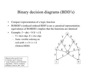 Binary decision diagrams (BDD's)