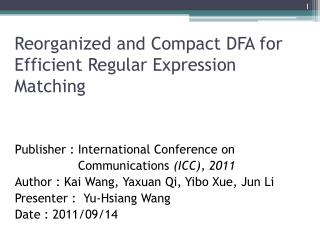 Reorganized and Compact DFA for Efficient Regular Expression Matching