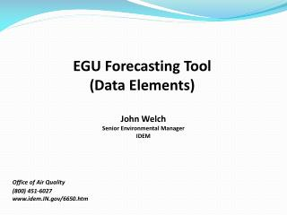 EGU Forecasting Tool  (Data Elements)