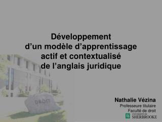 Développement  d'un modèle d'apprentissage  actif et contextualisé  de l'anglais juridique