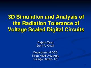 3D Simulation and Analysis of the Radiation Tolerance of Voltage Scaled Digital Circuits