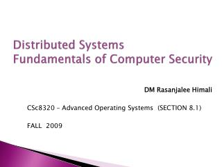 Distributed Systems Fundamentals of Computer Security