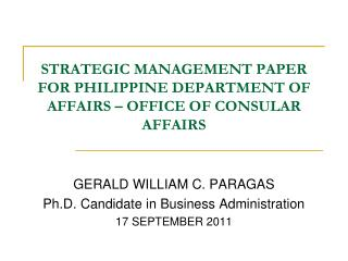 STRATEGIC MANAGEMENT PAPER FOR PHILIPPINE DEPARTMENT OF AFFAIRS – OFFICE OF CONSULAR AFFAIRS