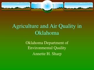 Agriculture and Air Quality in Oklahoma