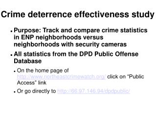 Crime deterrence effectiveness study