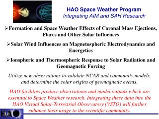 HAO Space Weather Program  Integrating AIM and SAH Research