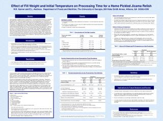 Effect of Fill Weight and Initial Temperature on Processing Time for a Home Pickled Jicama Relish