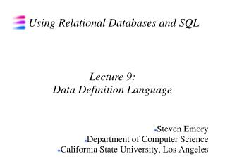 Using Relational Databases and SQL