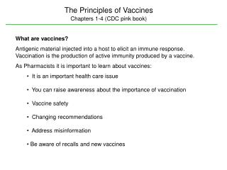 The Principles of Vaccines Chapters 1-4 (CDC pink book)
