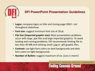 DFI  PowerPoint Presentation Guidelines