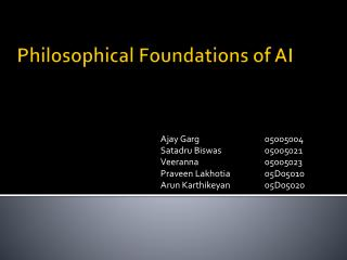 Philosophical Foundations of AI