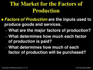 The Market for the Factors of Production