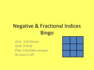 Negative & Fractional Indices Bingo