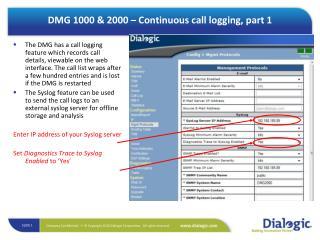 DMG 1000 & 2000 – Continuous call logging, part 1