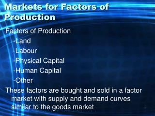 Markets for Factors of Production