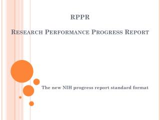 RPPR Research Performance Progress Report