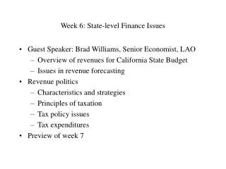 Week 6: State-level Finance Issues