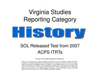 Virginia Studies Reporting Category