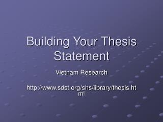 Building Your Thesis Statement