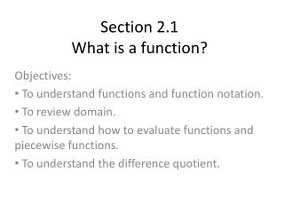 Section 2.1 What is a function?