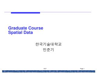 Graduate Course Spatial Data