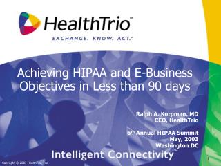 Achieving HIPAA and E-Business Objectives in Less than 90 days