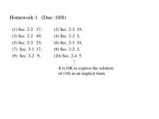 Homework 1   (Due:  10/8)