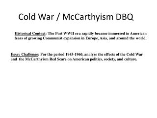 Dbq essay on cold war