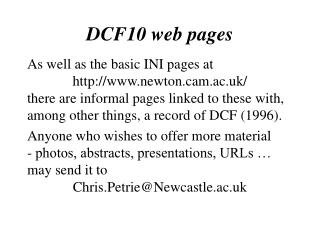 DCF10 web pages