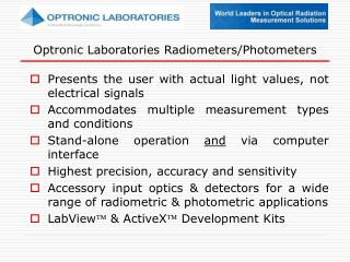 Optronic Laboratories Radiometers/Photometers