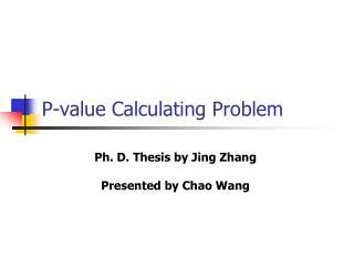 P-value Calculating Problem