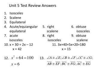 Unit  5  Test Review Answers