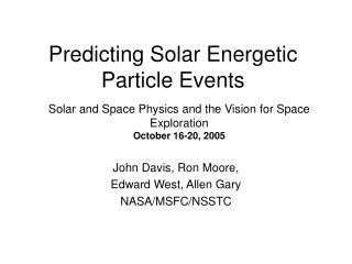 Predicting Solar Energetic Particle Events