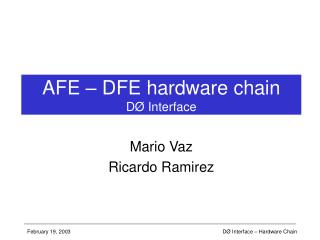AFE – DFE hardware chain DØ Interface