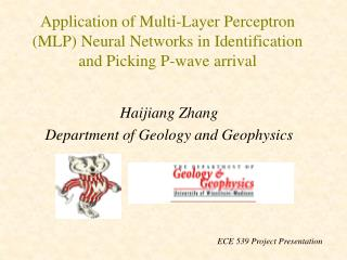 Haijiang Zhang Department of Geology and Geophysics
