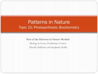 Patterns in Nature Topic  10:  Photosynthesis: Biochemistry