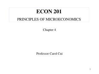 ECON 201 PRINCIPLES OF MICROECONOMICS