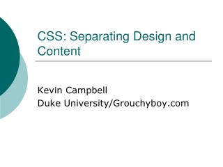 CSS: Separating Design and Content