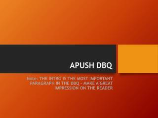 APUSH DBQ