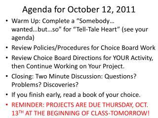 Agenda for October 12, 2011