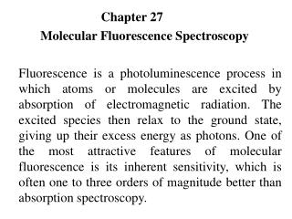 Chapter 27	 Molecular Fluorescence Spectroscopy