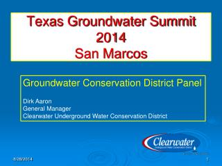 Texas Groundwater Summit 2014 San Marcos