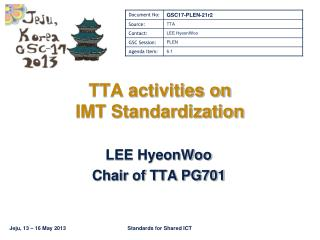 TTA activities on  IMT Standardization