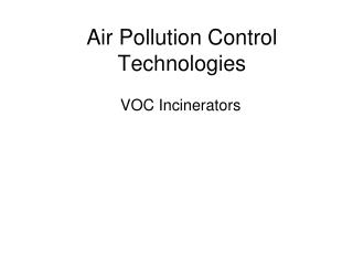 Air Pollution Control Technologies