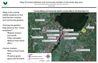 Map of Farmers Markets and Community Gardens in the Green Bay area